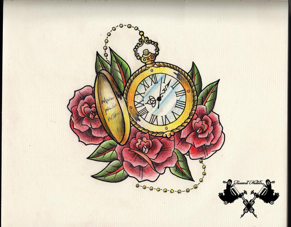tattoo-flash pocket watch by Tausend-Nadeln