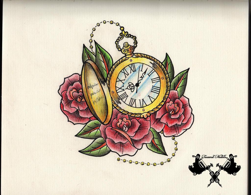 tattoo-flash pocket watch by Tausend-Nadeln on DeviantArt