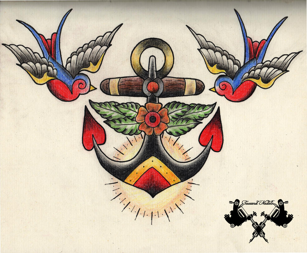 Tattoo Flash Anchor By Tausend Nadeln On Deviantart
