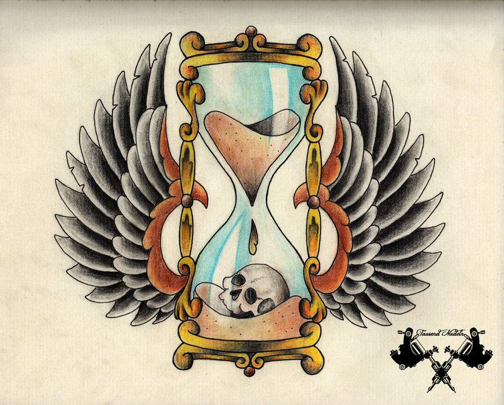 tattoo-flash hourglass by Tausend-Nadeln on DeviantArt