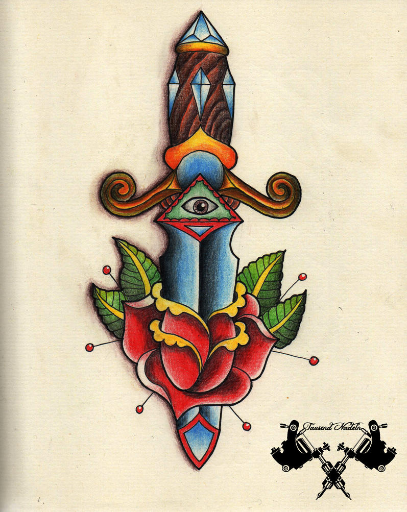 American traditional dagger tattoo designs