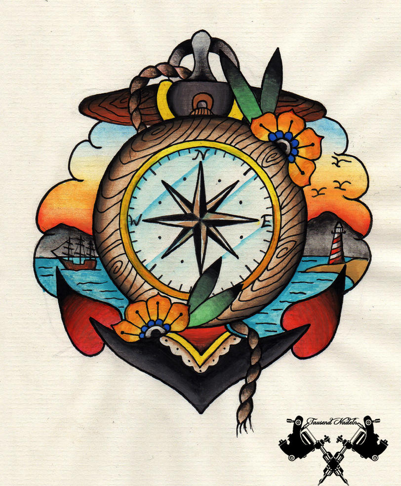 tattoo-flash compass and anchor by Tausend-Nadeln on ...