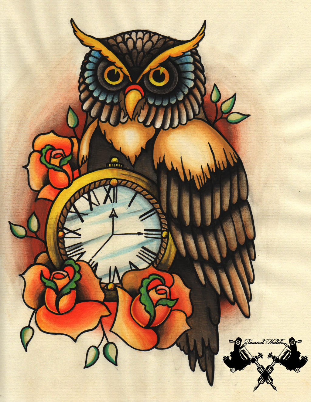Tattoo Flash Owl And Pocket Watch By Tausend Nadeln On