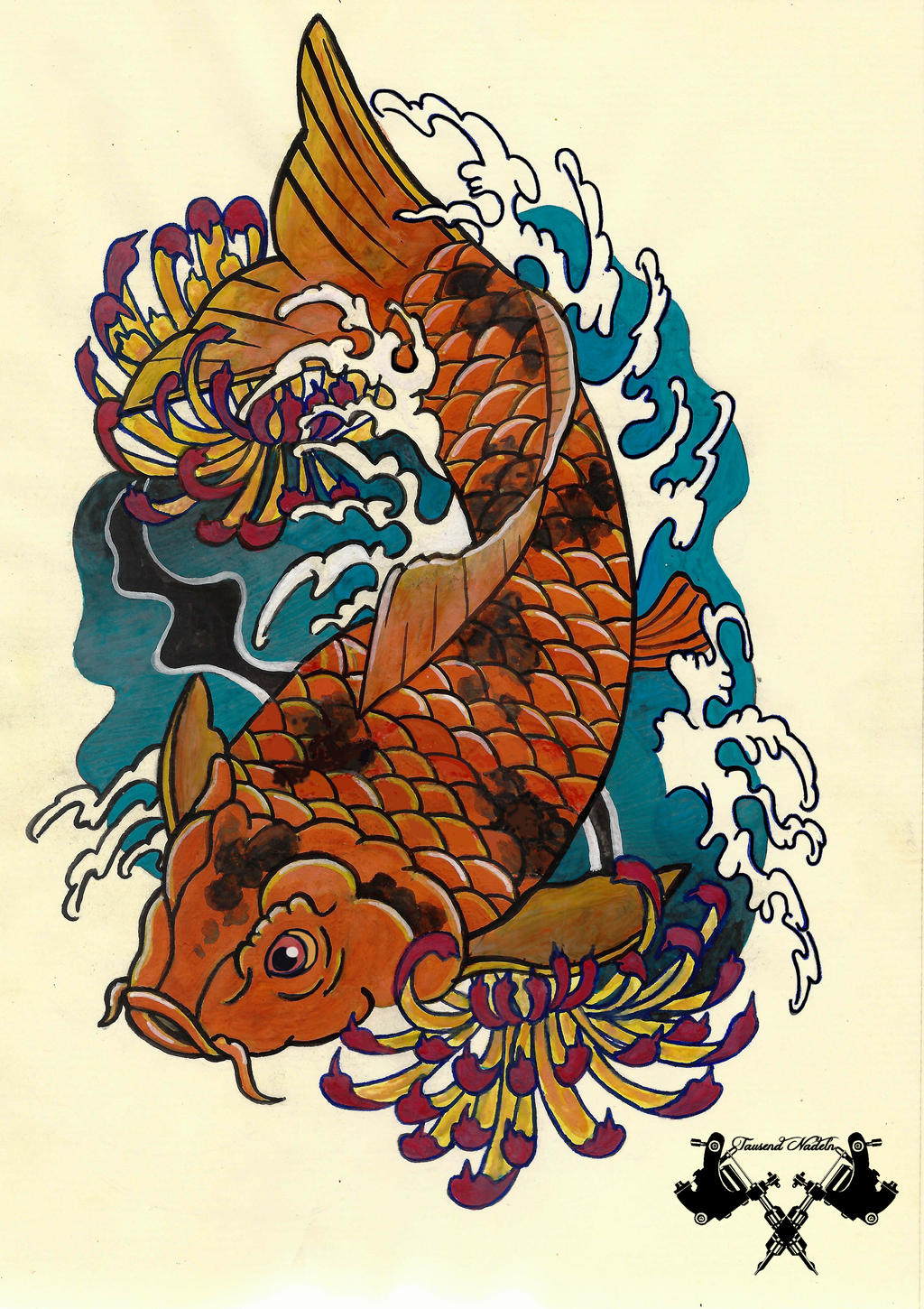 tattoo flash koi by tausend nadeln on deviantart. Black Bedroom Furniture Sets. Home Design Ideas