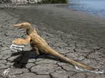 Sunbathing velociraptor