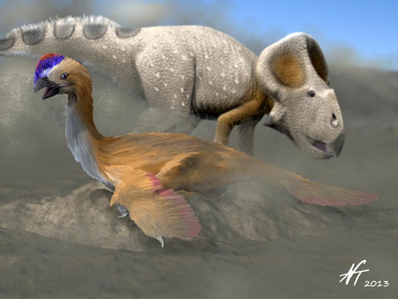 Oviraptor and Protoceratops by NTamura