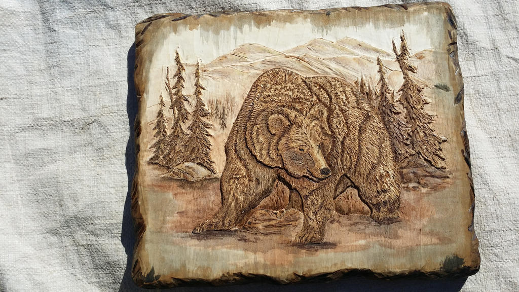 Grizzly bear relief carving on poplar wood by terryallred