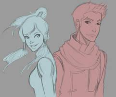 Korra and Mako by SkyDominic