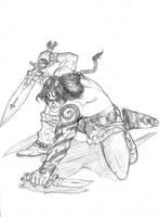 Barbarian Warrior by Lord-Nyarlathotep