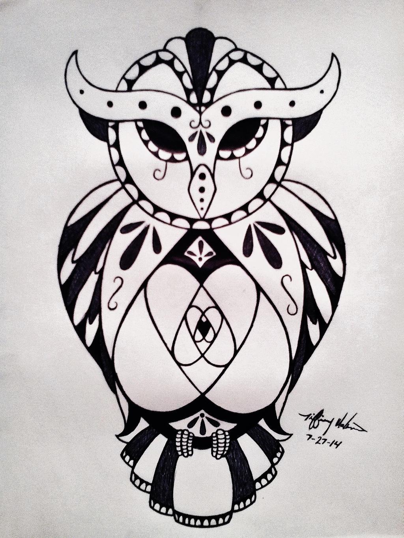 Sugar Skull Owl Tattoo Design by Tiffadactyl on DeviantArt - photo#35
