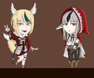 Selkie and Velouria chibis by PlottingYourDemise