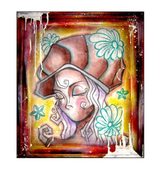 mixed media on old frame by tbianchini