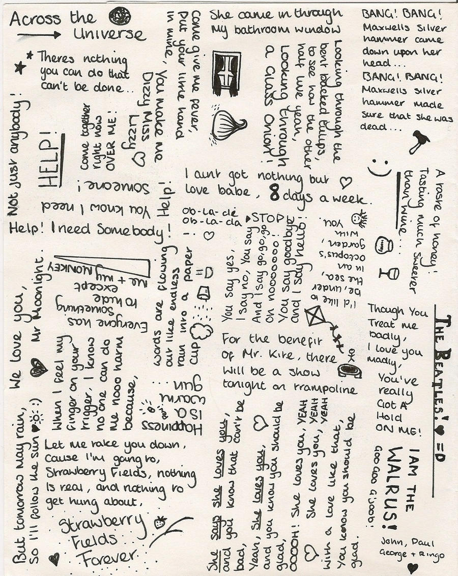 Some Of The Beatles Lyrics By Orangecampervan