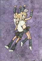 Rin and Len Kagamine watercolour request by Ruusu-chan