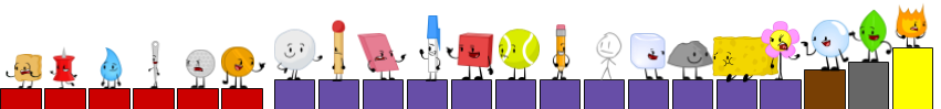 BFDI Elimination Order (with rejoin order) by noahthemaster