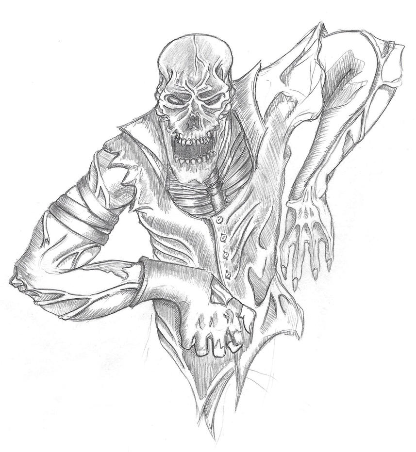 Zombie Pencil Drawing by anthonynemer