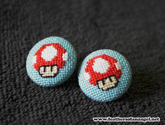 one up mushroom earrings by SongThread