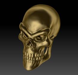 Gold Skull Render 02 by sav8197