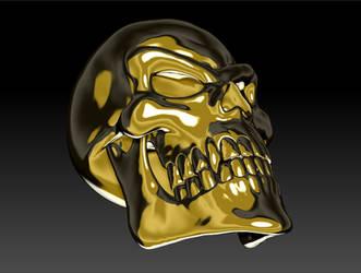 Gold Skull Render 03 by sav8197