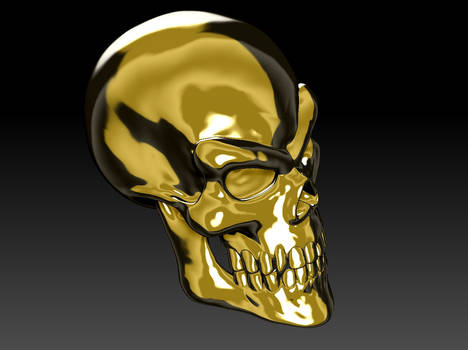 Gold Skull Render 04