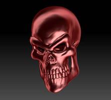 Golden Red Skull Render 01