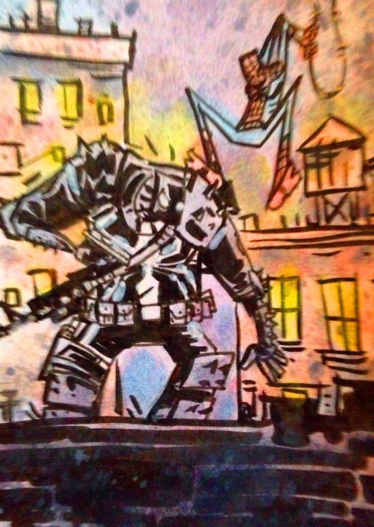 Venom vs Superior Spider-man sketch card by SpencerPlatt
