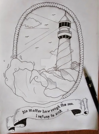 Lighthouse - I refuse to sink - concept tattoo by jehno