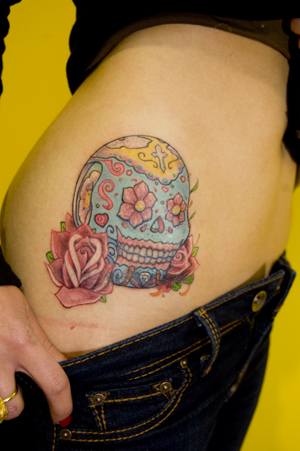 candy skull tattoo. Sugar Skull tattoo Cover up