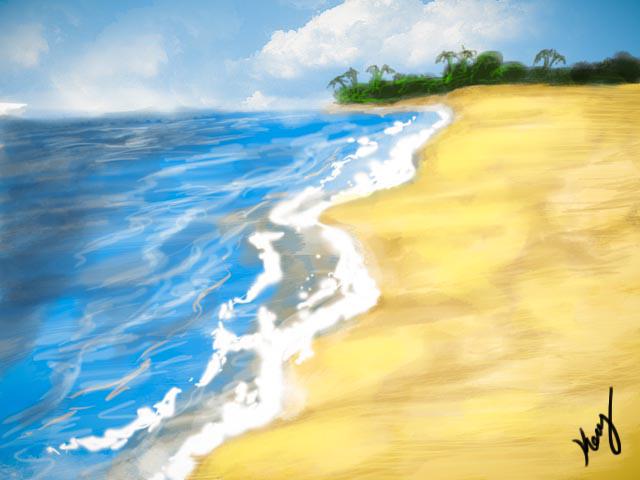 Beach Drawing by mrkmhtet