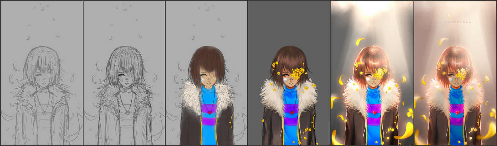 Flowerfell - Frisk (steps) by JoannaHashim
