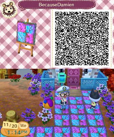 Animal Crossing Qr Code Pink Blue