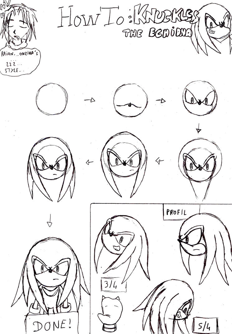 How To ? Knuckles The Echidna By Raianonzika