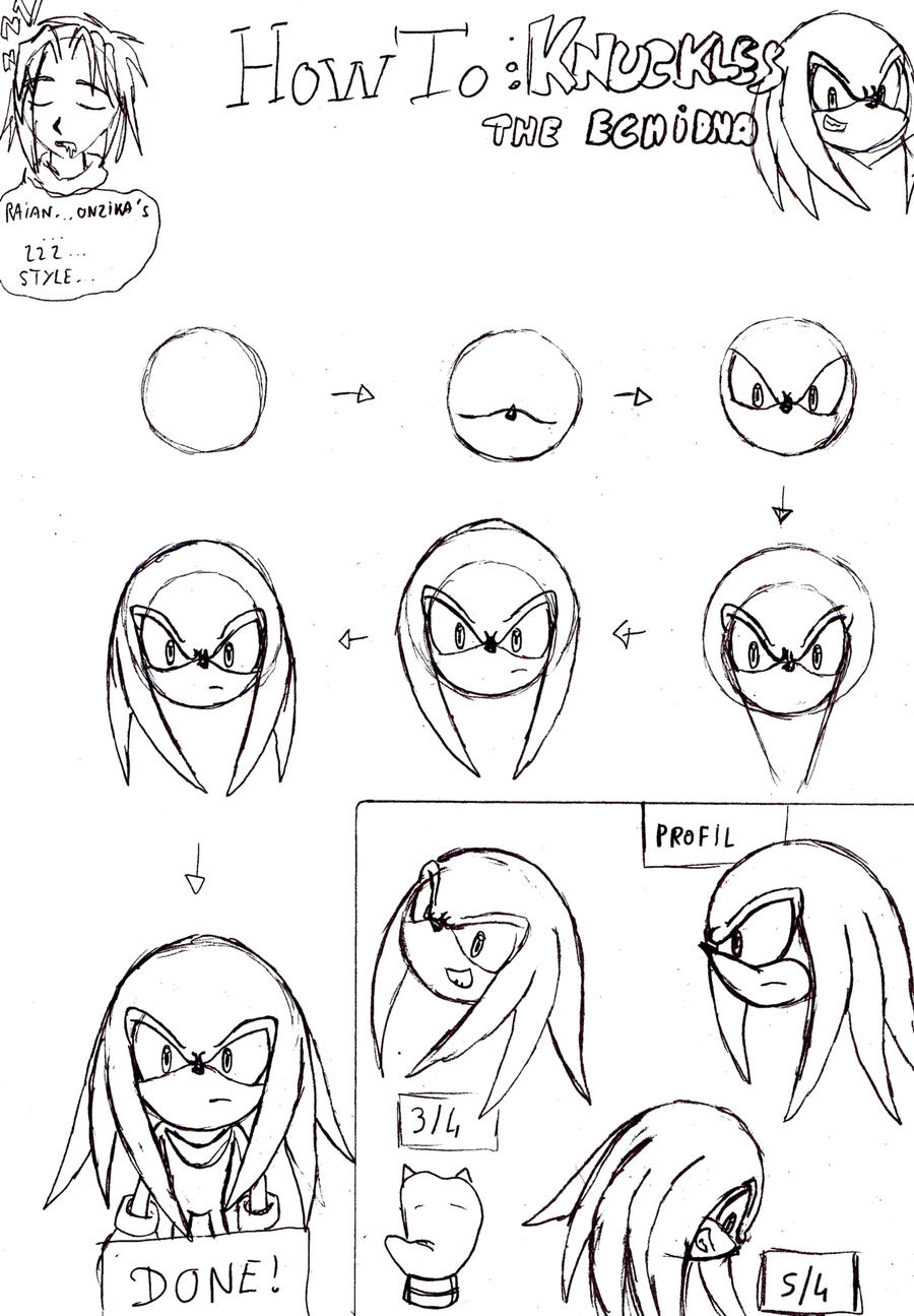 how to knuckles the echidna by raianonzika on deviantart