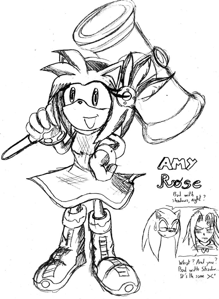 amy rose sketch in 16 minutes by raianonzika on deviantart