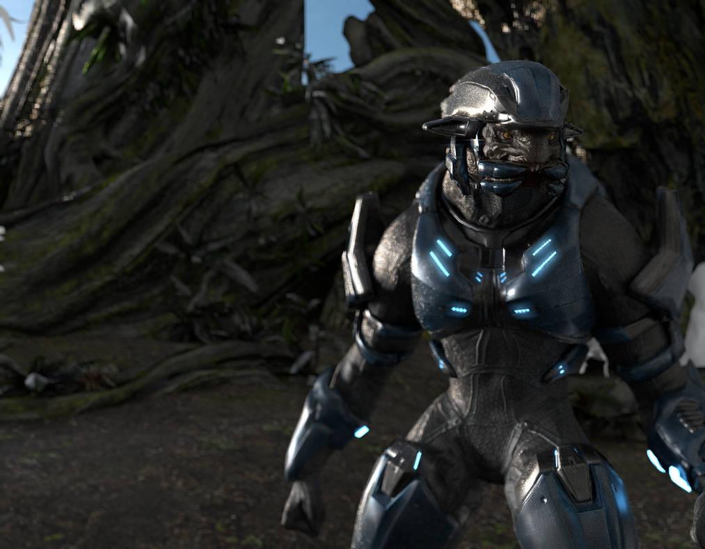 Halo 2 Anniversary Elite Jungle Render by TelemusCNT on