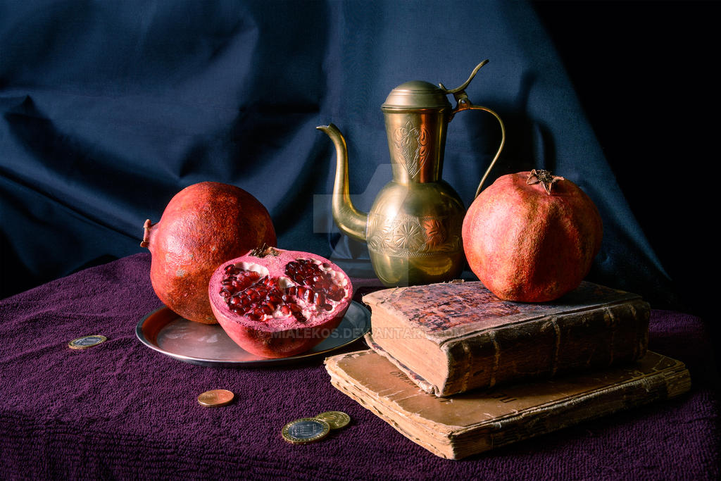 Still life with pomegranates by mialekos