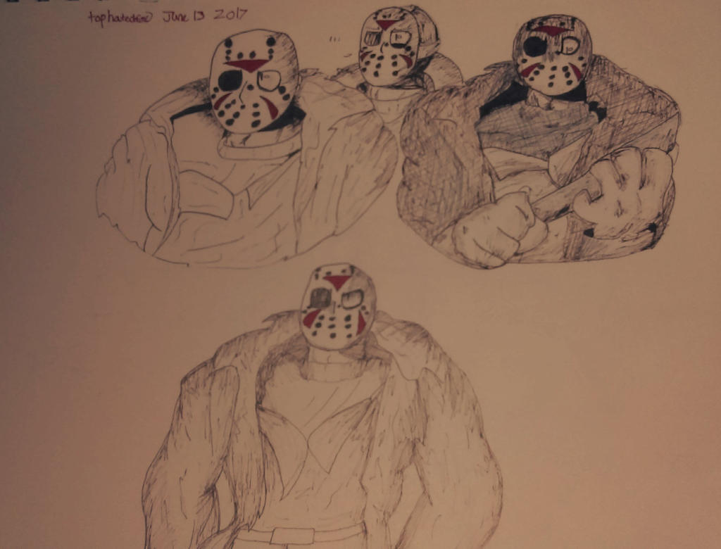 Some Jason Voorhees doodles by tophatedfox