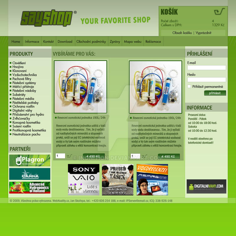 E-Shop green + white webdesign by Ingnition