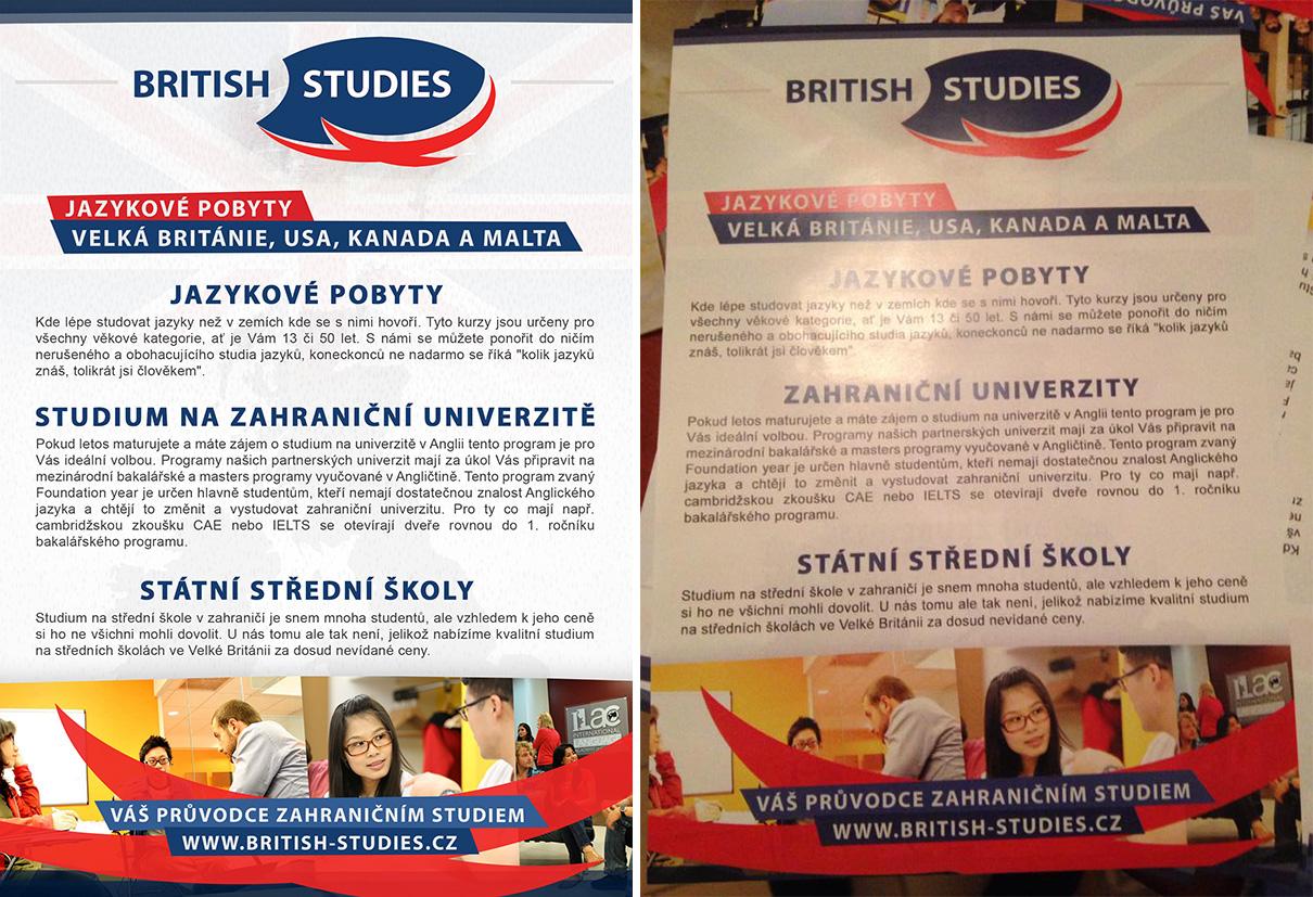 BRITISH STUDIES - Letak A5 zadek / Flyer A5 back