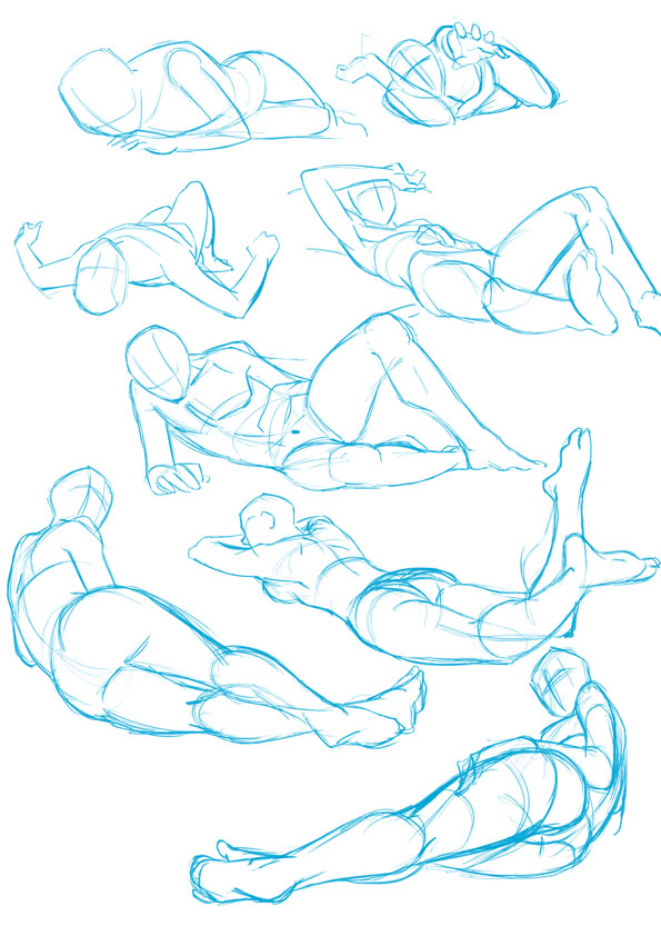 some lying poses by xong on DeviantArt