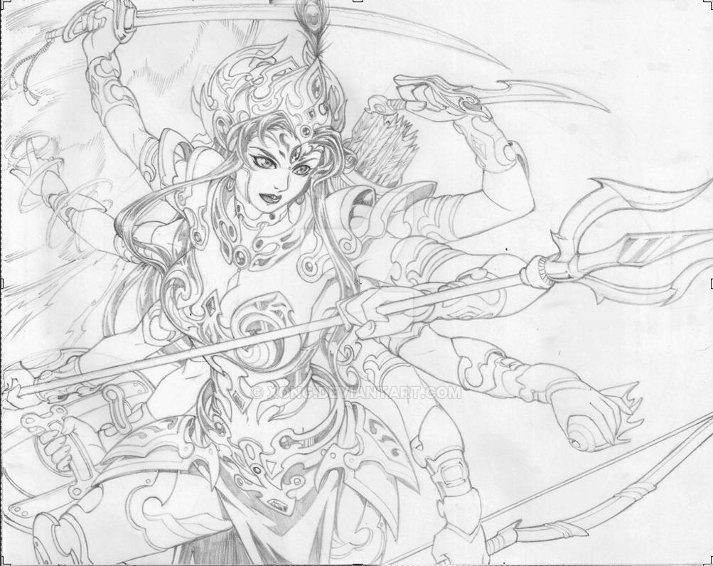 Devi durga sketch done during the pujas xd by xong