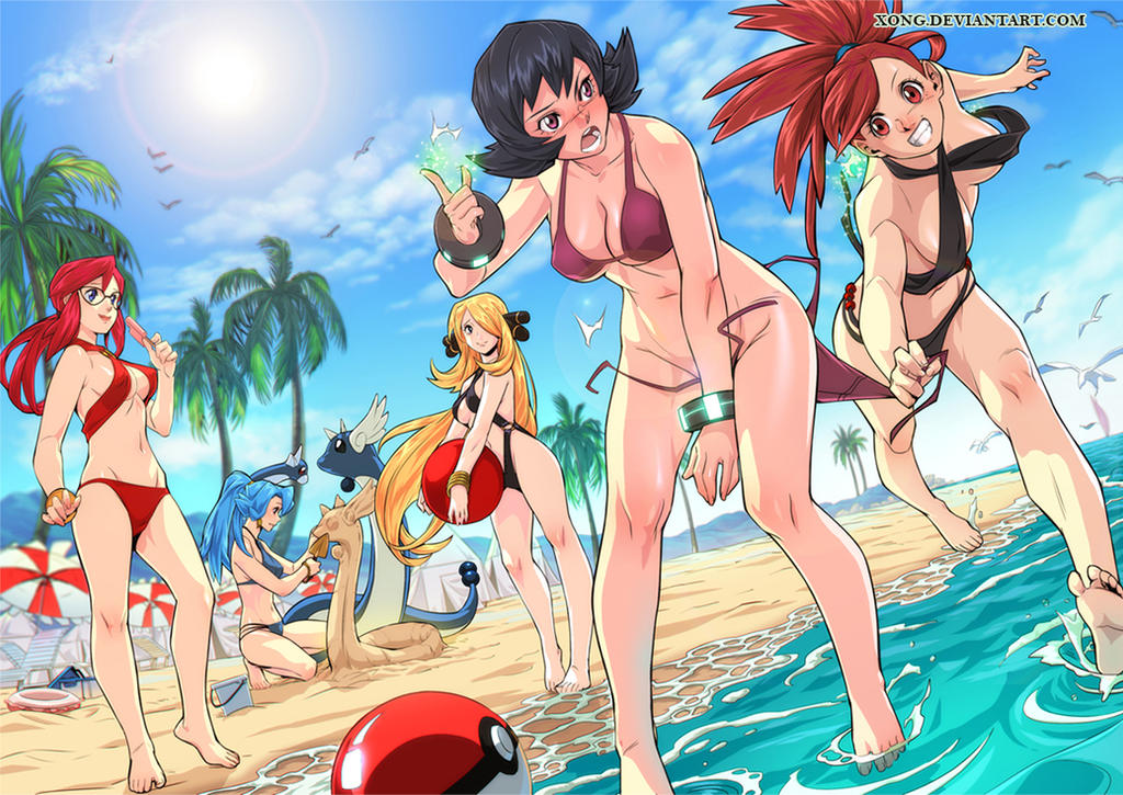 5eebebb2c1 beach Girls and Pokemon by xong on DeviantArt