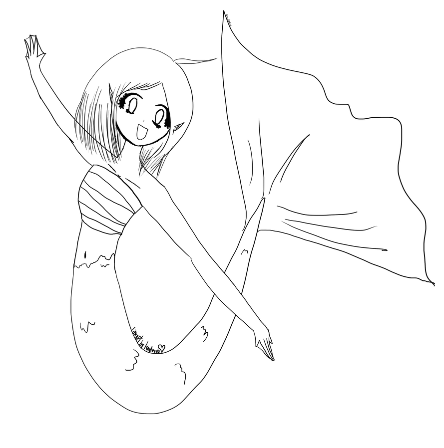Line Drawing Mermaid : Mermaid line art by kayleero on deviantart