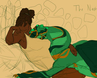 Korlem and her baby dragon by Cinnabonyx
