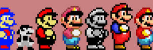 Mario Pixel Sprites (1981-2017) Updated by Mazecube24