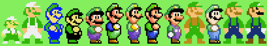 Luigi Pixel Sprites 1983 2017 Updated By Mazecube24 On Deviantart