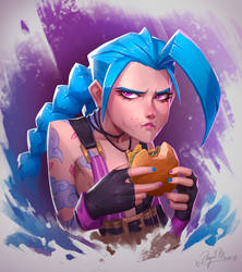 Jinx eating a burger
