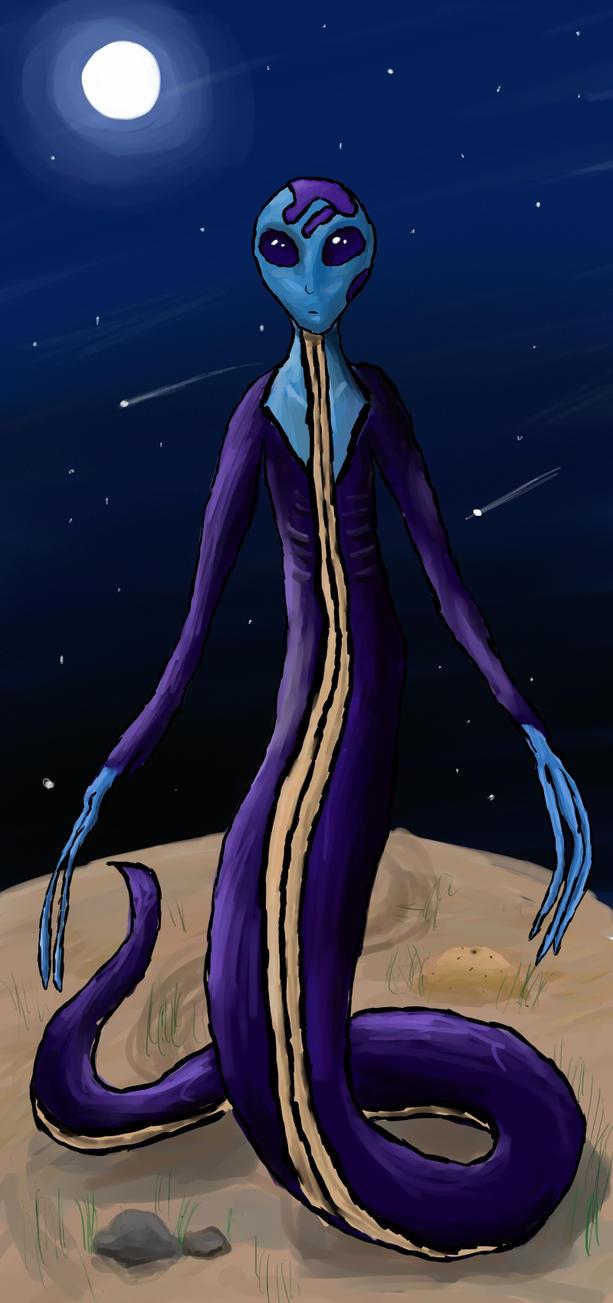 Alien snake people by Silver-Drake
