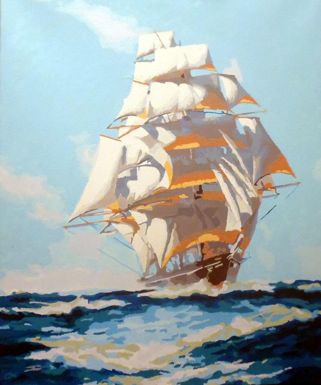 Sailing ship on ocean