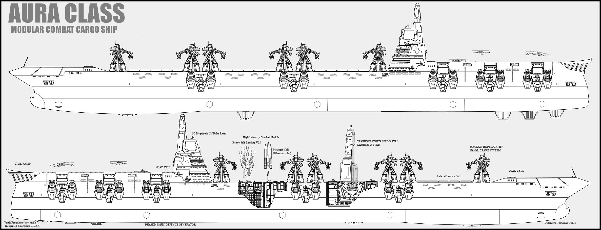 Aura class combat cargo ship by Lineartbob
